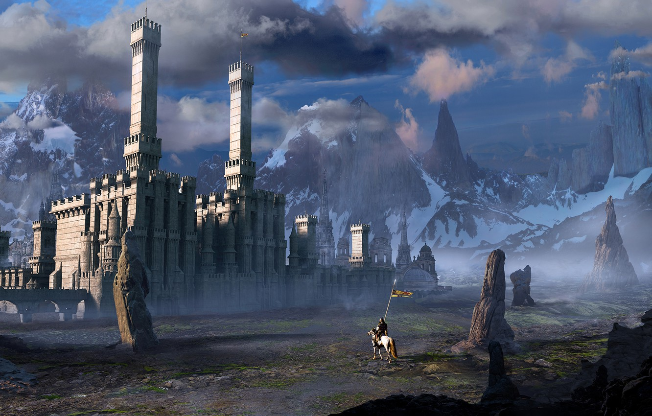 Photo wallpaper the sky, clouds, mountains, castle, rocks, horse, rider, knight, banner