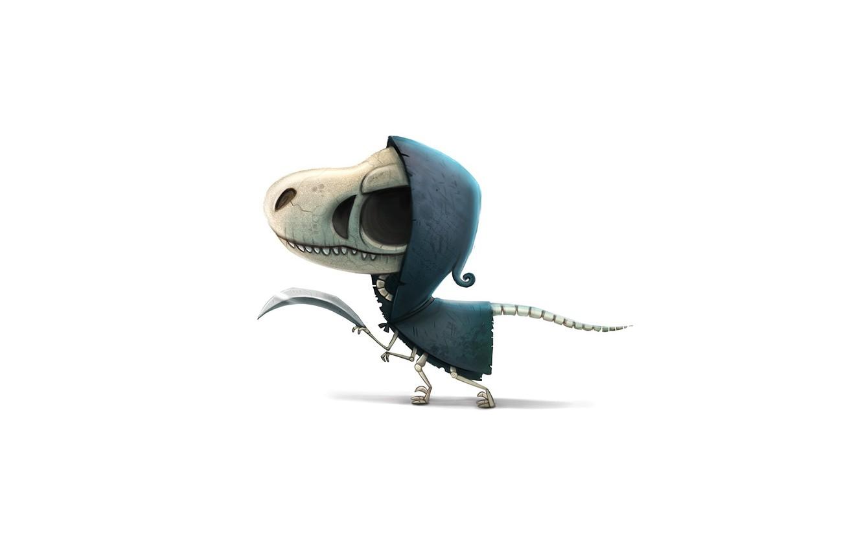 Photo wallpaper skull, dinosaur, blade, bones, skeleton, hood, art, torn clothes, toothy, dinosaur, orbit, cryptidcreations