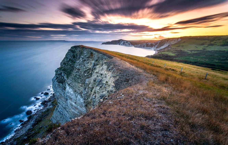 Photo wallpaper long exposure, Jurassic sunset, Gad Cliff, Dorset coast