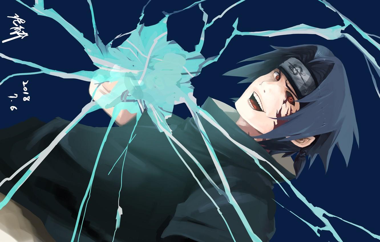 Photo wallpaper lightning, Naruto, Naruto, Sasuke Uchiha