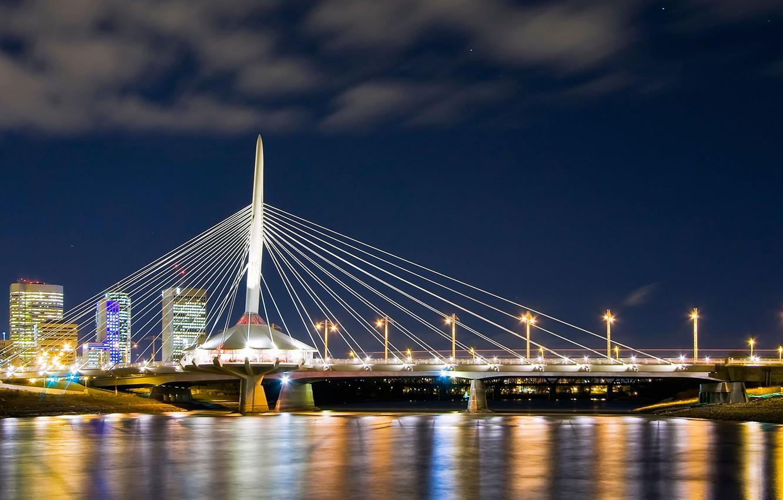 Photo wallpaper lights, Canada, pedestrian bridge, Winnipeg, Esplanade Riel