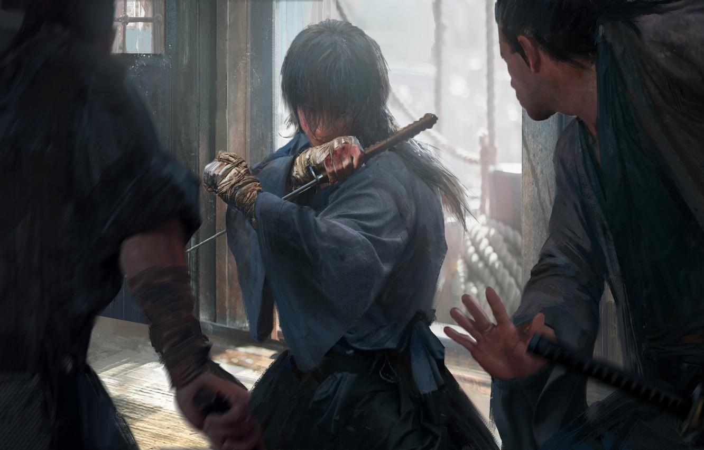 Photo wallpaper katana, Japanese clothing, art, the fight, bandages, Samurai X, Rurouni Kenshin, Himura Kenshin, Hobo Kenshin, …