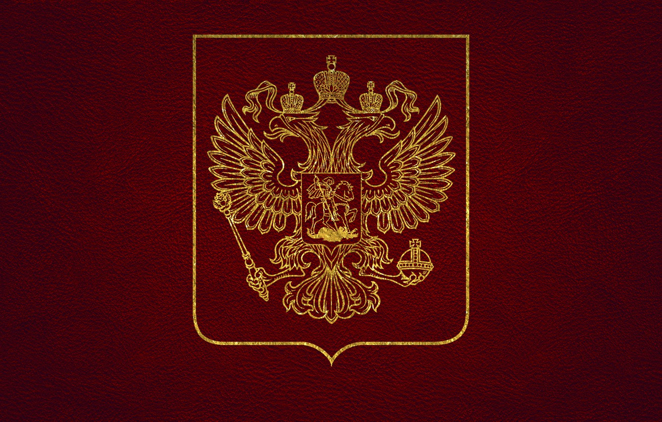 Photo wallpaper leather, gold, coat of arms, Russia, red, double-headed eagle, the coat of arms of Russia