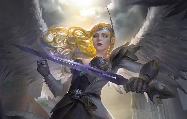 Photo wallpaper look, girl, weapons, wings, angel, sword, armor, fantasy, art, angel