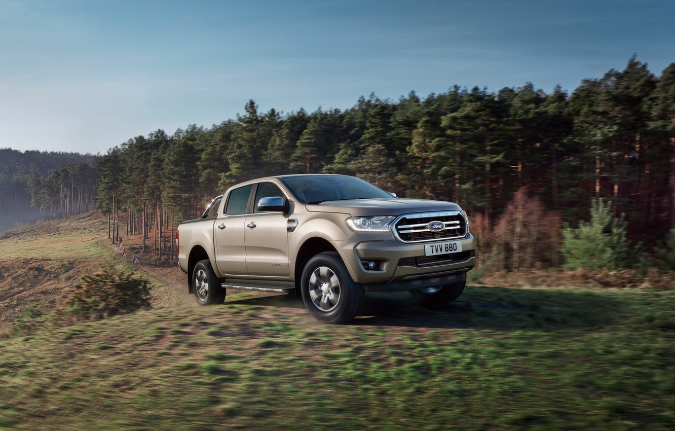 Photo wallpaper machine, forest, trees, movement, Ford, pickup, Ranger Limited