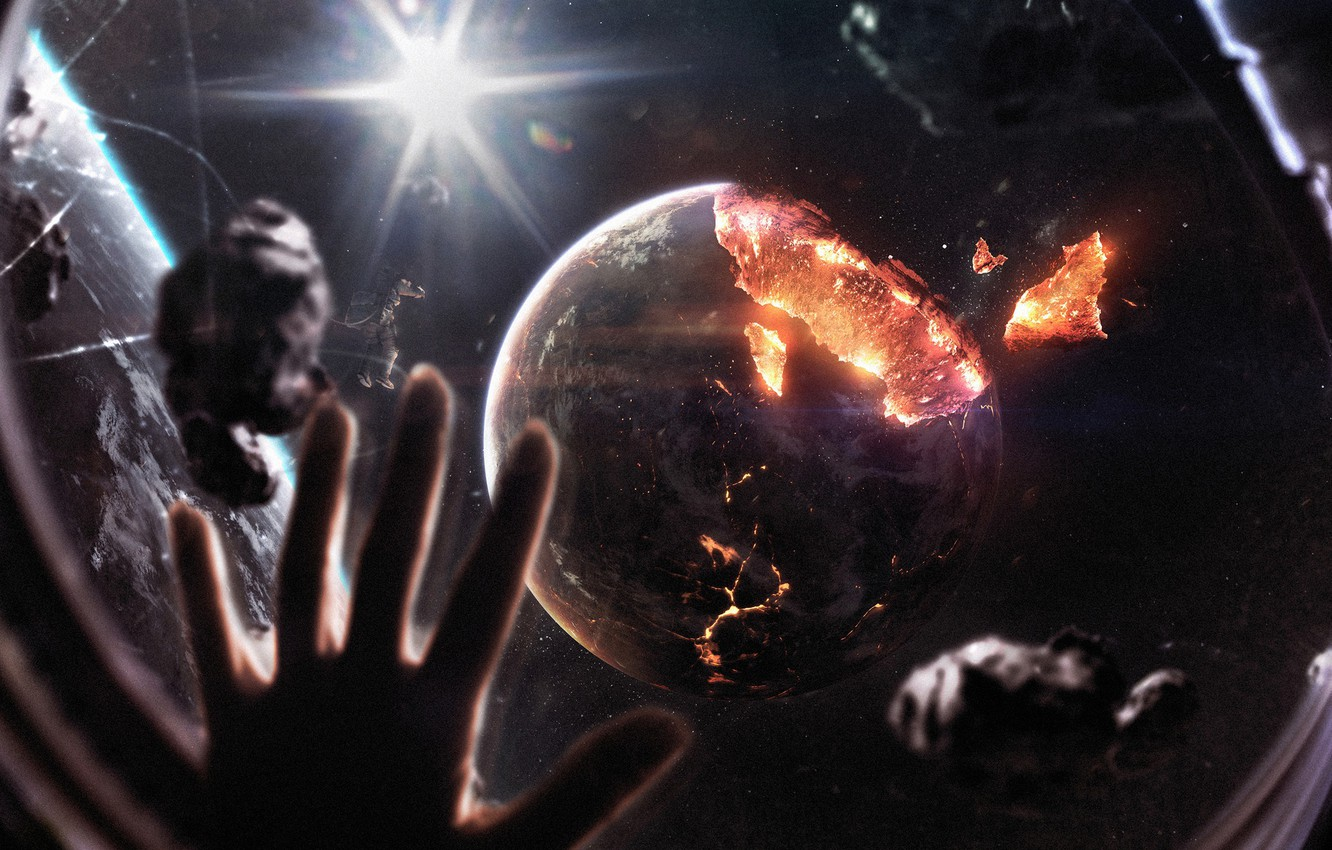 Photo wallpaper Stars, The suit, Station, People, Planet, Space, Star, Hand, Planet, Astronaut, Costume, Apocalypse, Fragments, Astronaut, ...