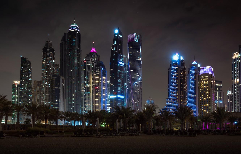 Photo wallpaper night, the city, Dubai