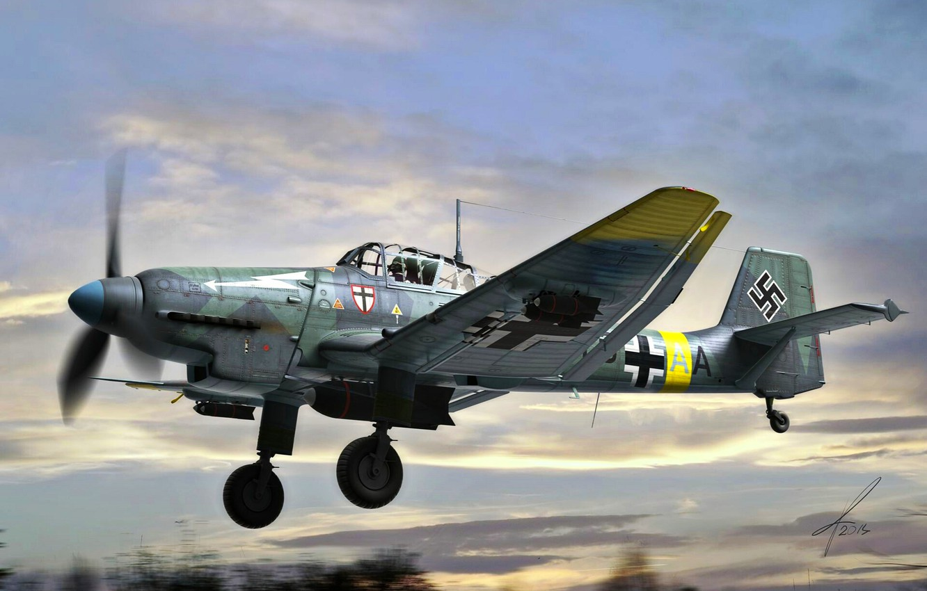 Photo wallpaper Bomber, Luftwaffe, Dive bomber, Ju-87D, Junkers Ju 87 stuka