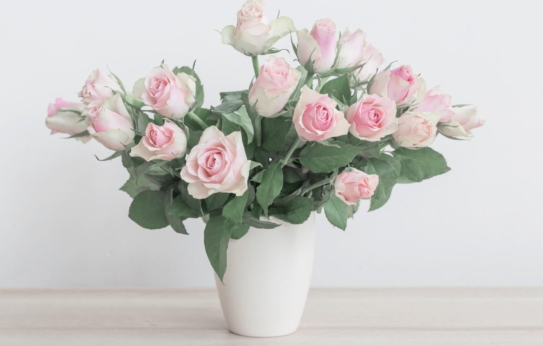 Photo wallpaper flowers, bouquet, vase, gentle, pink, beautiful, Maya Kruchenkova