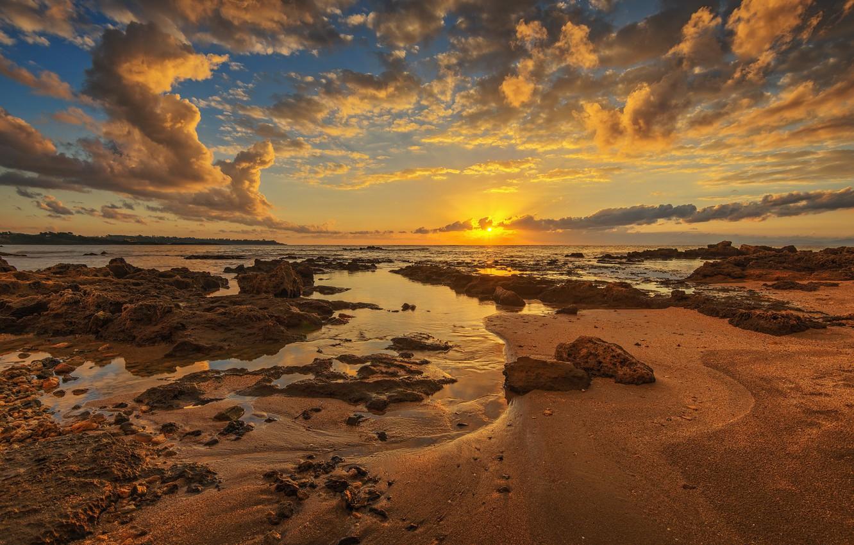 Photo wallpaper sunset, coast, Greece, Skafidhia