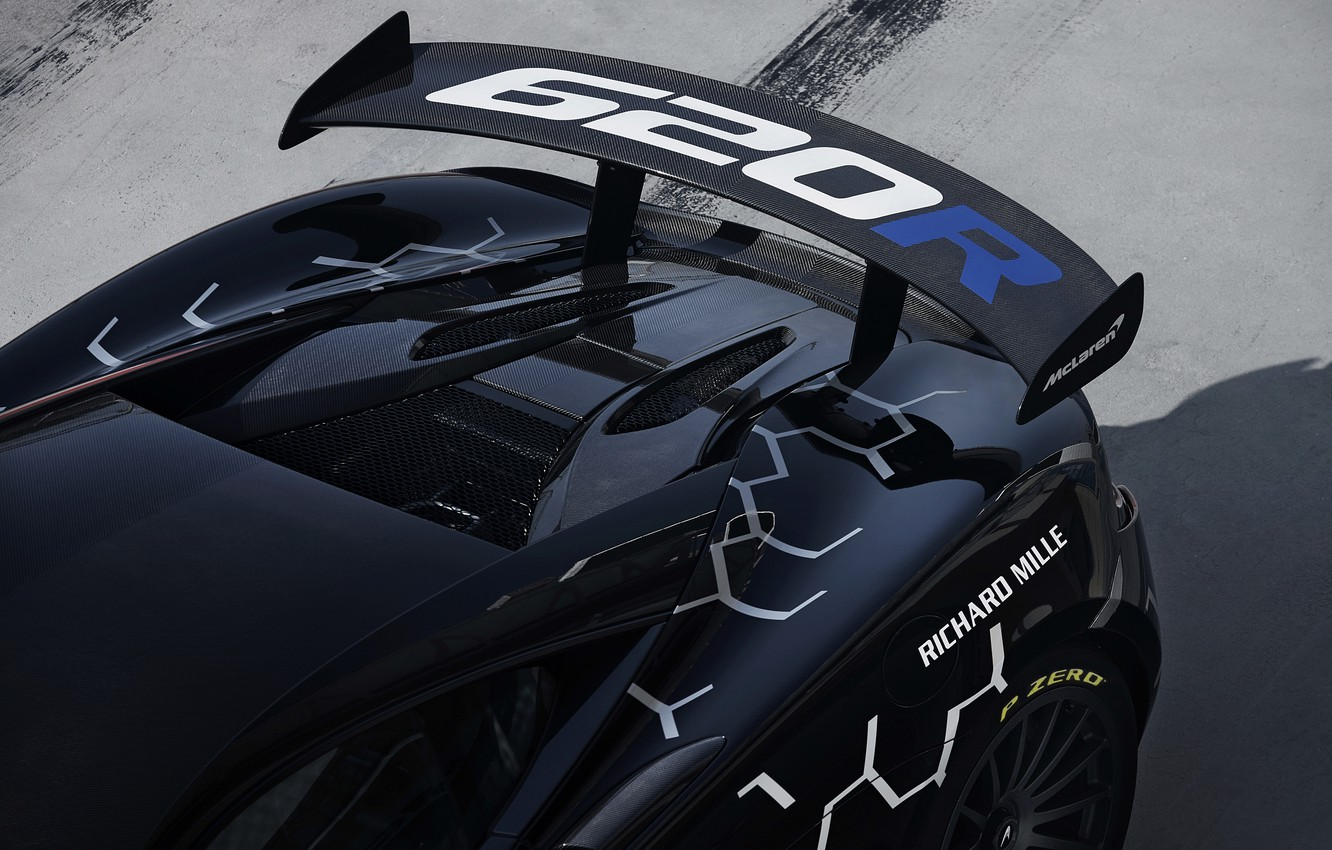 Photo wallpaper coupe, McLaren, ass, wing, 2020, V8 twin-turbo, 620R, 620 HP, 3.8 L.