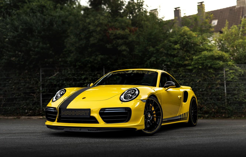 Photo wallpaper yellow, coupe, 911, Porsche, 991, Manhart, 911 Turbo S, 2020, 991.2, битурбонаддув, 850 л.с., TR …