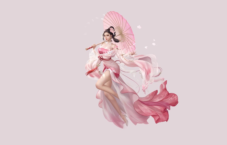 Photo wallpaper Girl, Fantasy, Beautiful, Art, Asian, Style, Umbrella, Illustration, Asia, Characters, Dress, 3Q STUDIO