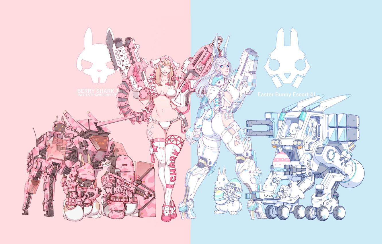 Photo wallpaper Girl, Gun, Sexy, Art, Girls, Machine, Guns, Stealth, Tank, Ninja, Weapon, Minimalism, Cyborg, Soldier, Characters, …