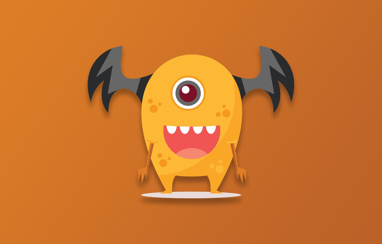 Photo wallpaper Monster, minimalism, cartoon, funny, digital art, artwork, simple background, orange background