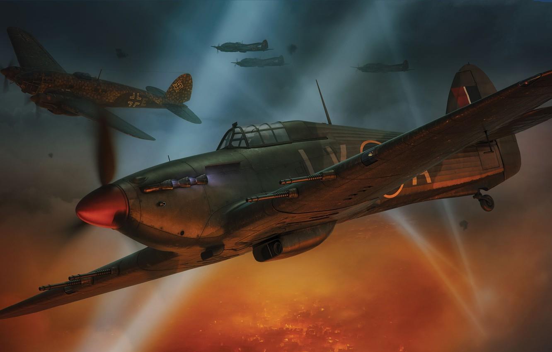 Photo wallpaper Night, Fighter, Bomber, Hawker Hurricane, RAF, He 111, Hurricane Mk.IIC, The spotlight