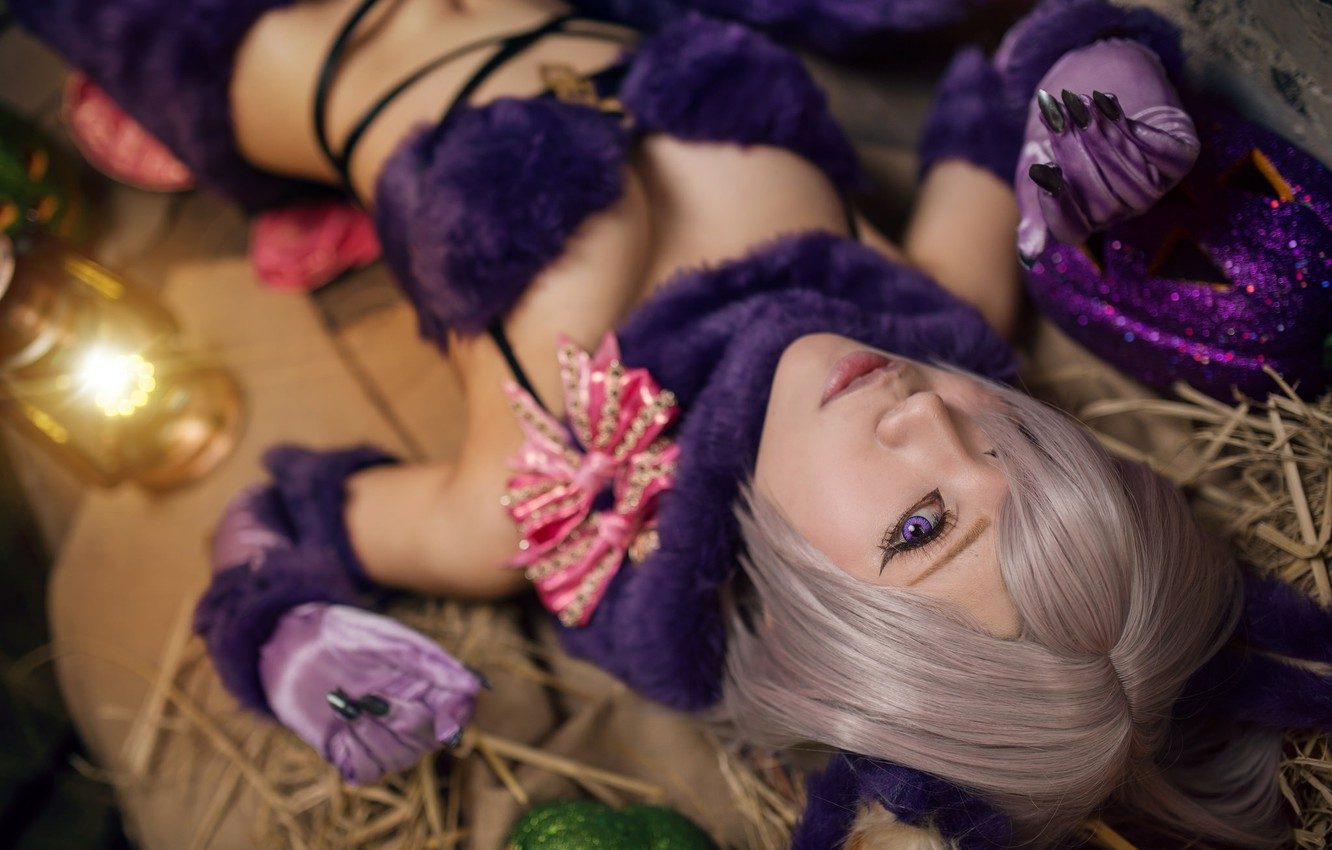 Photo wallpaper purple, chest, eyes, look, girl, face, pose, style, background, tummy, portrait, makeup, hairstyle, blonde, costume, …