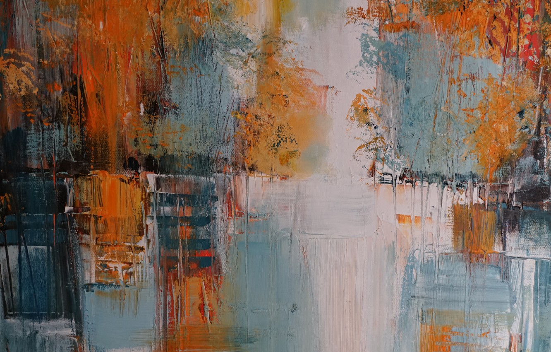 Photo wallpaper line, paint, spot, canvas, strokes