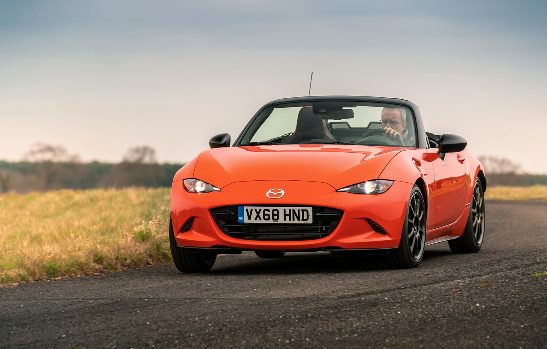 Photo wallpaper orange, Mazda, Roadster, MX-5, on the road, 30th Anniversary Edition, 2019