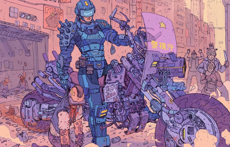 Photo wallpaper Robot, Robots, Police, People, Motorcycle, Attack, Fantasy, Art, Art, Robot, Robots, Fiction, Cyborg, Transport, Sci-Fi, …