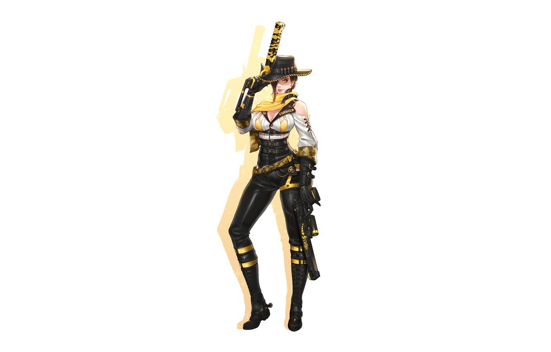 Photo wallpaper Girl, Gun, Busty, Sexy, Art, Revolver, Weapon, Minimalism, Characters, Pistols, Cowboy, Ren Wei Pan, Gila …