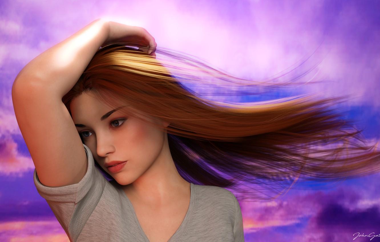 Photo wallpaper girl, sunset, realism