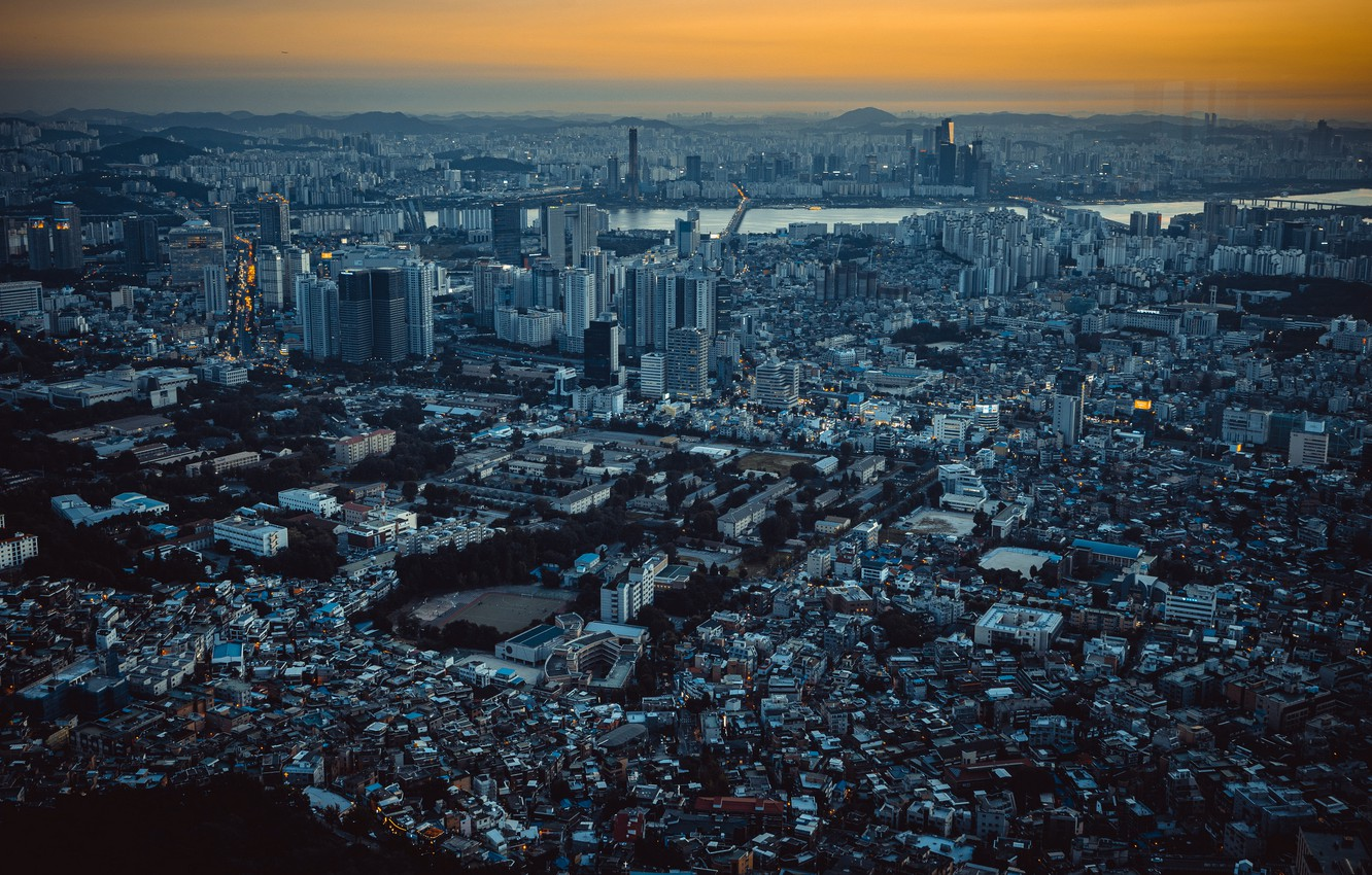 Photo wallpaper the city, panorama, Seoul