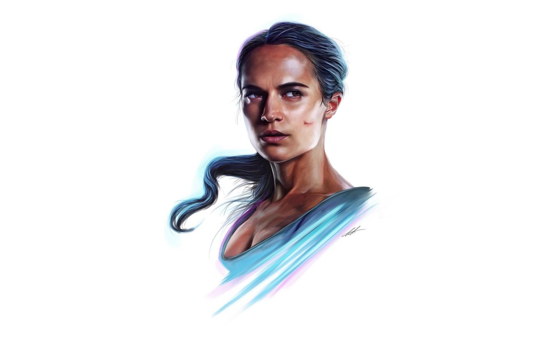 Photo wallpaper figure, portrait, art, white background, Tomb Raider, Lara Croft, Alicia Vikander, Alicia Vikander, Tomb Raider: …