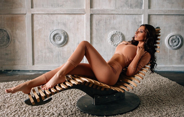 Photo wallpaper girl, pose, feet, carpet, chair, Ksenia Wegner, Alexei Trifonov