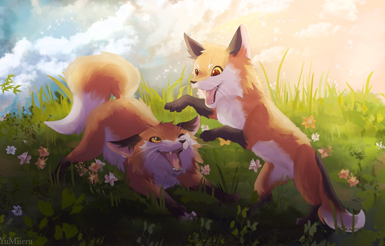 Photo wallpaper flowers, nature, play, cubs