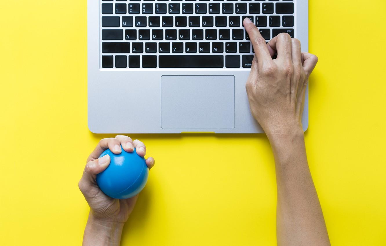 Photo wallpaper notebook, ball, fingers, stress