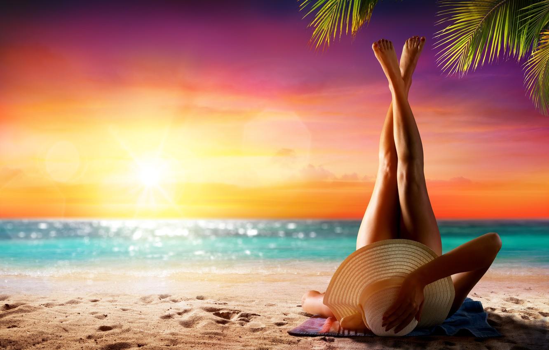 Photo wallpaper beach, summer, girl, girl, summer, sunshine, beach, vacation, legs, sea, hat, woman, vacation, tropical