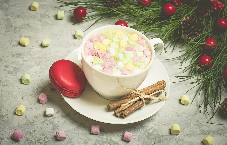 Photo wallpaper decoration, New Year, Christmas, mug, Christmas, cup, New Year, cocoa, decoration, xmas, Merry, fir tree, …
