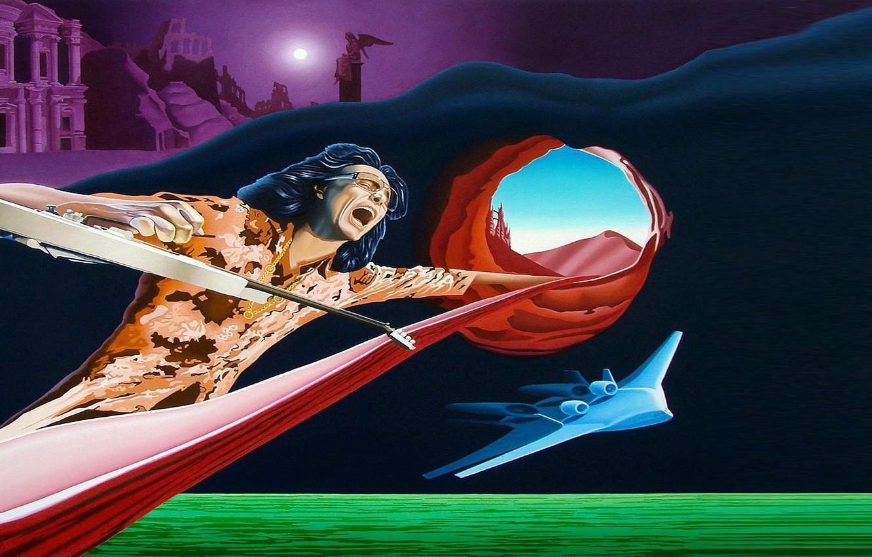 Photo wallpaper space, guitar, art, Picture, musician, ship., Artist Vasily Zherebilo