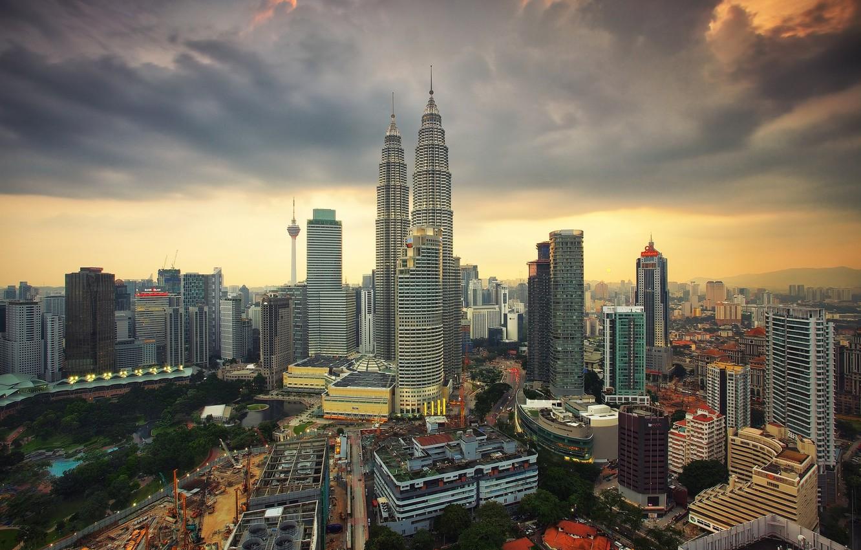 Photo wallpaper the sky, landscape, the city, dawn, morning, Malaysia, Kuala Lumpur