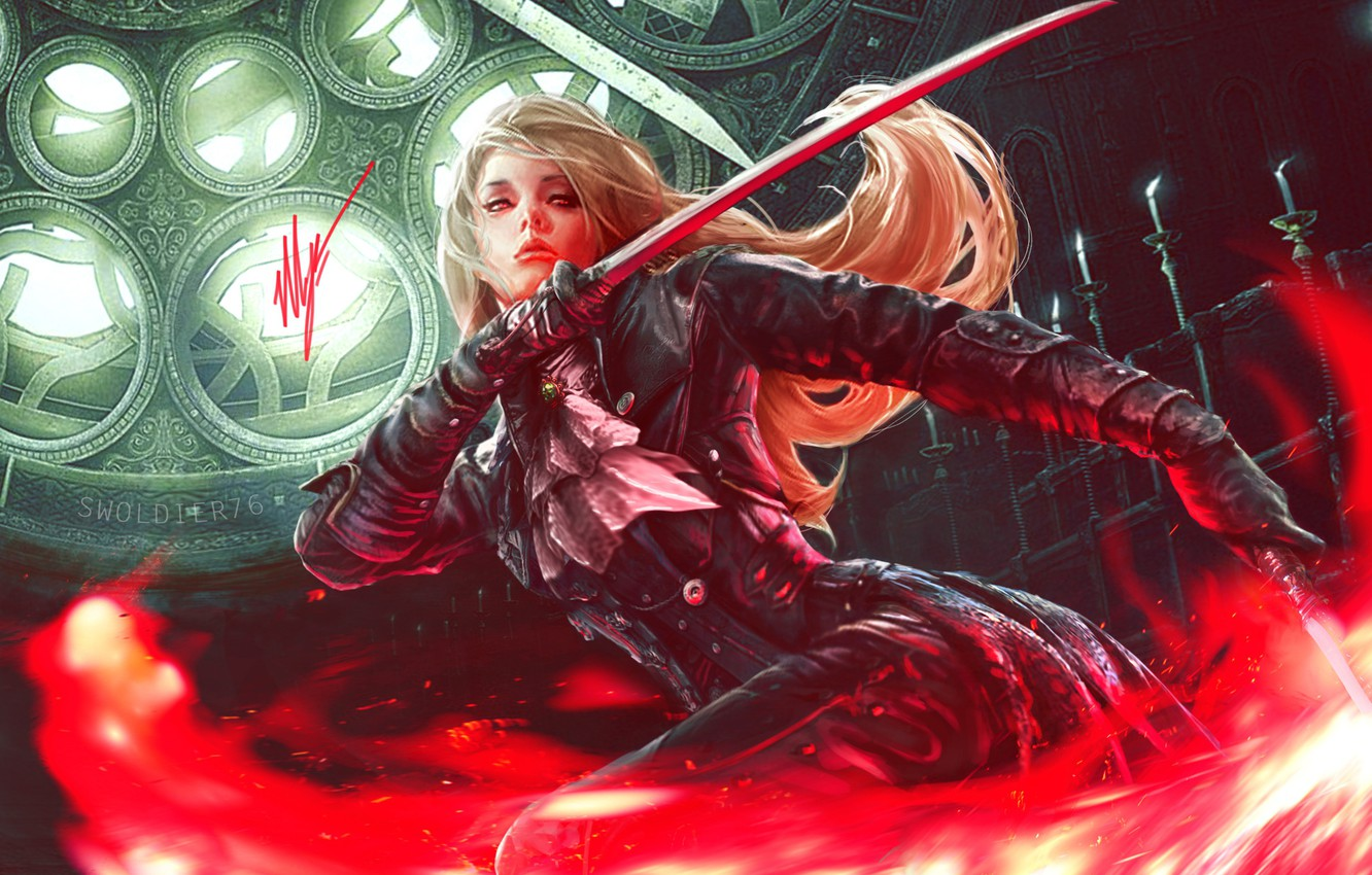 Photo wallpaper look, girl, pose, weapons, candles, fantasy, art, blonde