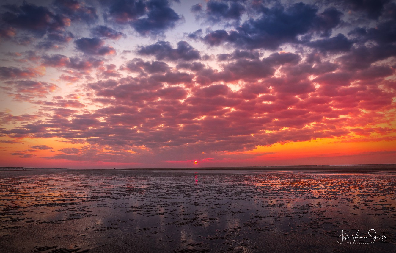 Photo wallpaper sea, the sky, the sun, clouds, sunset, shore, Jutta Voetmann-Schlub