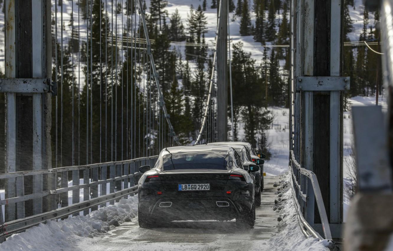 Photo wallpaper snow, bridge, Porsche, prototype, 2019, Taycan