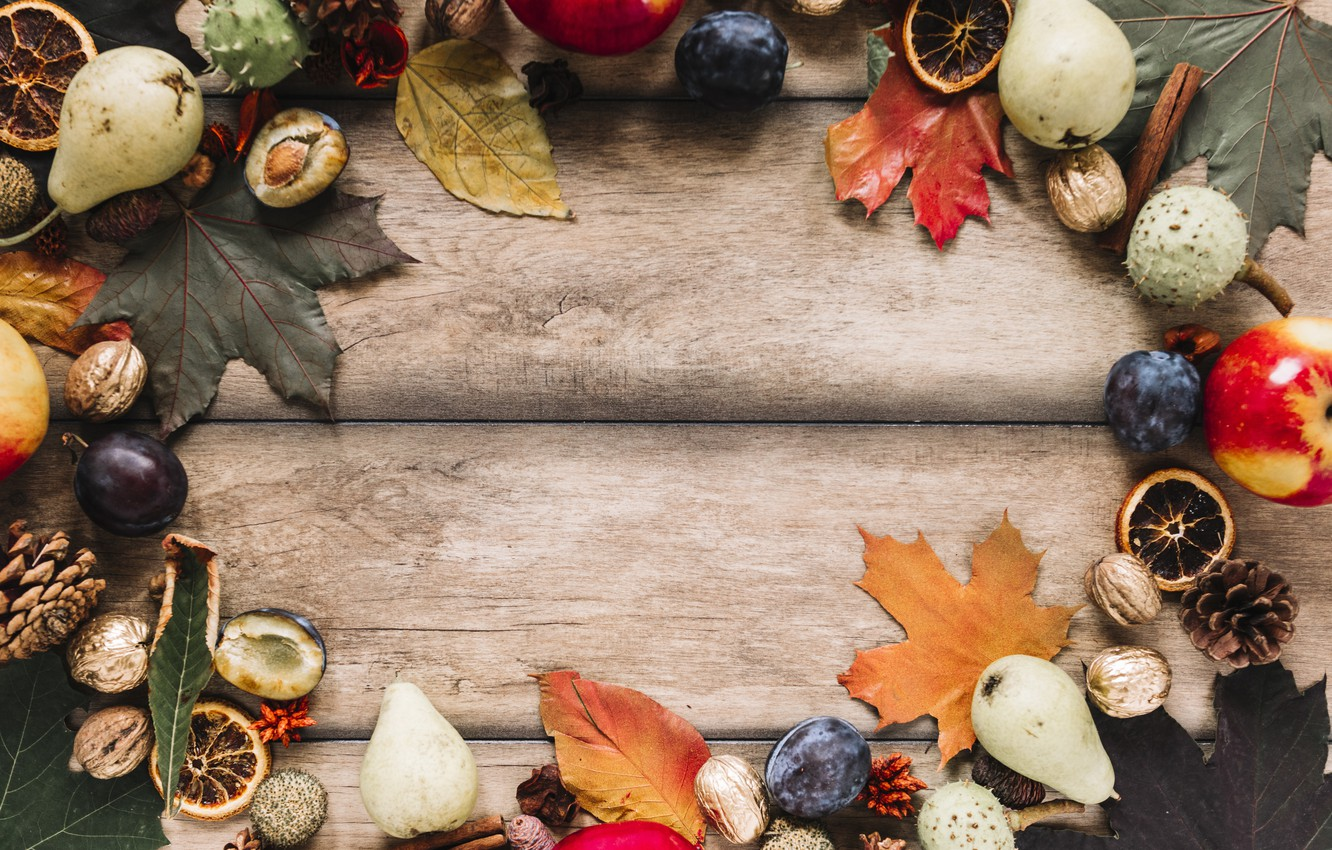 Photo wallpaper autumn, leaves, background, tree, apples, colorful, fruit, nuts, plum, bumps, pear, wood, background, autumn, leaves, …