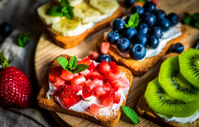 Photo wallpaper leaves, berries, kiwi, strawberry, bread, Board, fruit, banana, mint, blueberries, toast