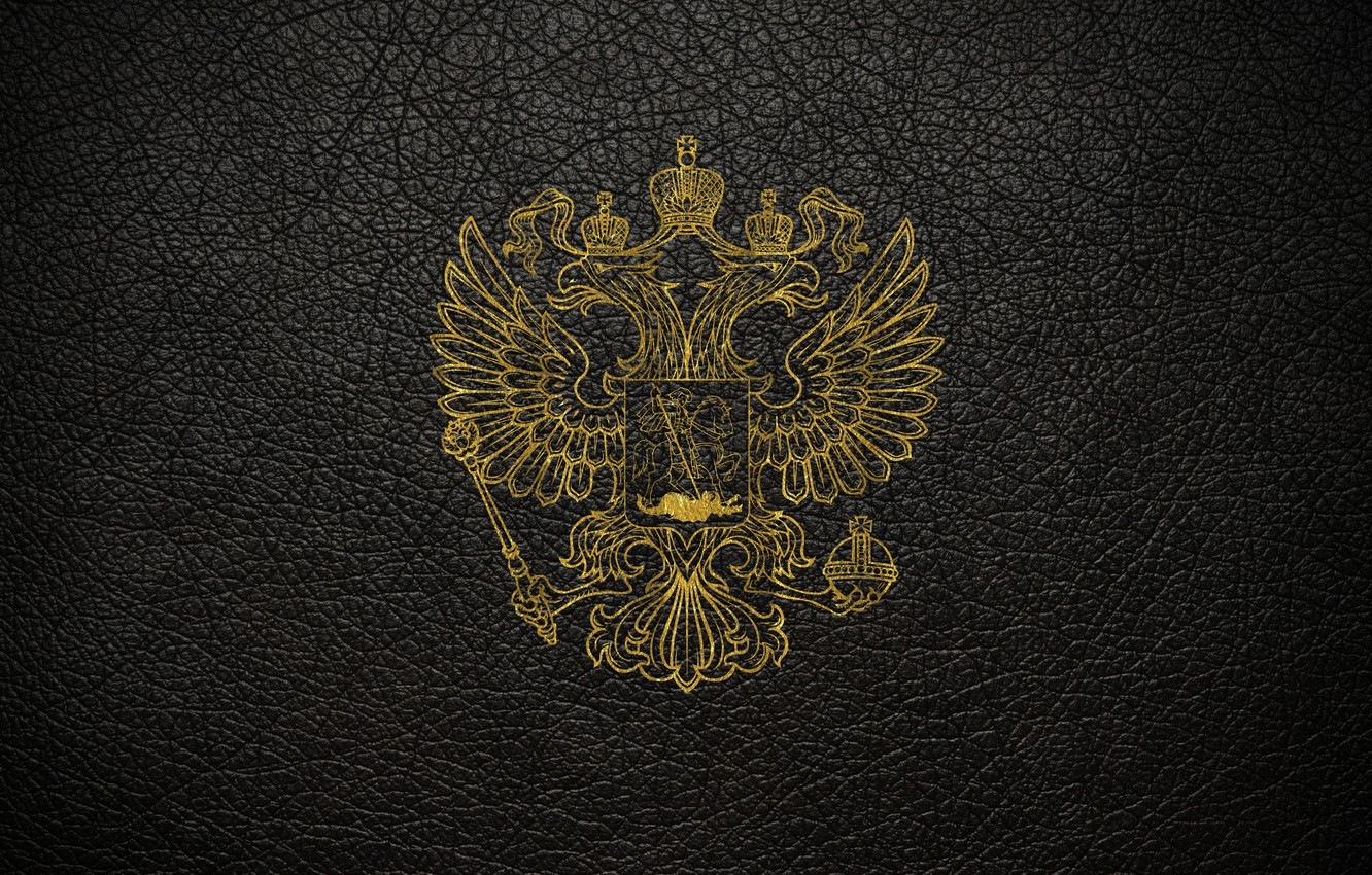 Photo wallpaper leather, scratches, gold, black background, coat of arms, Russia, coat of arms of Russia