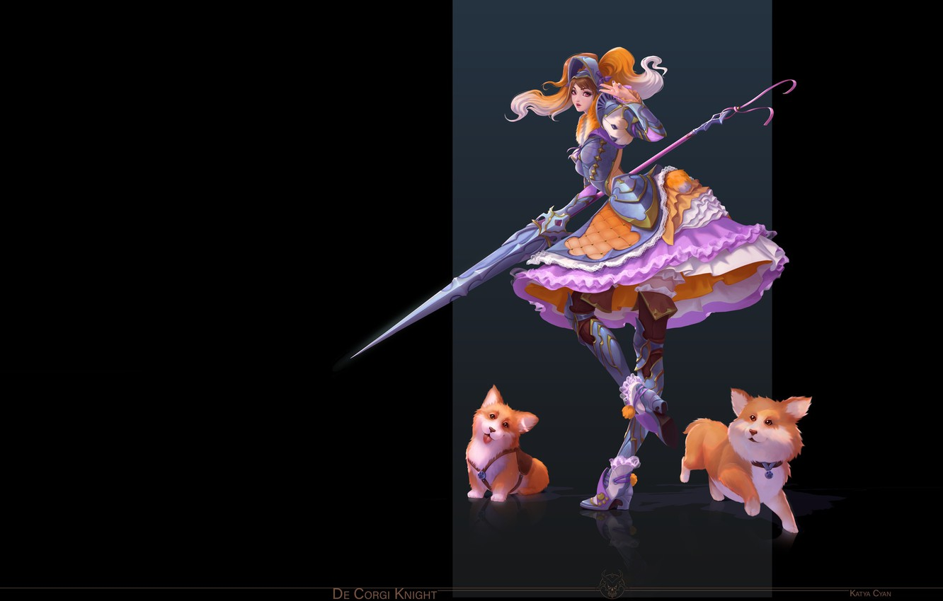 Photo wallpaper girl, anime, fantasy, art, dog, Katya Cyan, De Corgi Knight