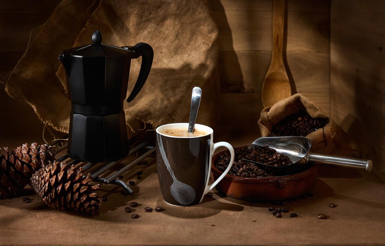 Photo wallpaper style, coffee, mug, still life, bumps, coffee beans, coffee maker, scoop
