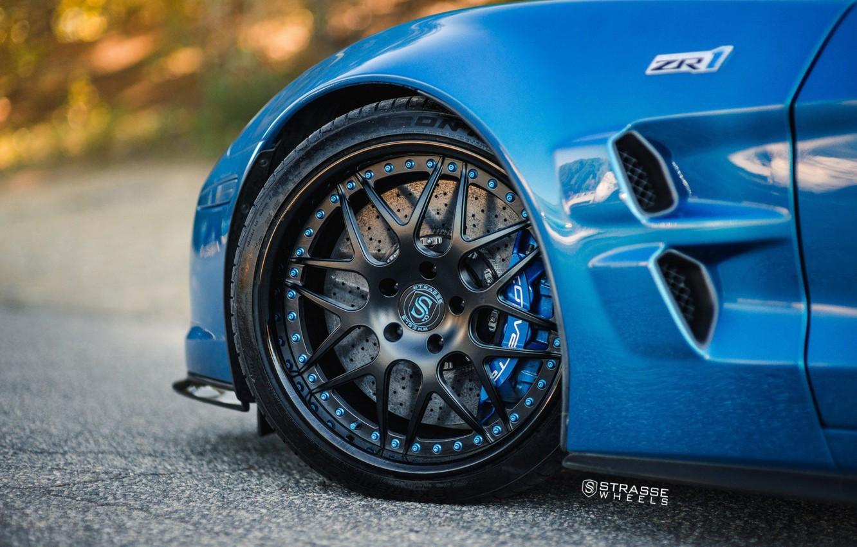 Photo wallpaper ZR1, Car, Blue, Wheel, Strasse Wheels, Rim, Disk