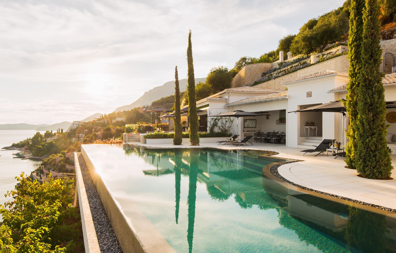 Photo wallpaper house, Villa, view, house, Greece, villa, greece, corfu, aura, agni, Corfu, kaminaki