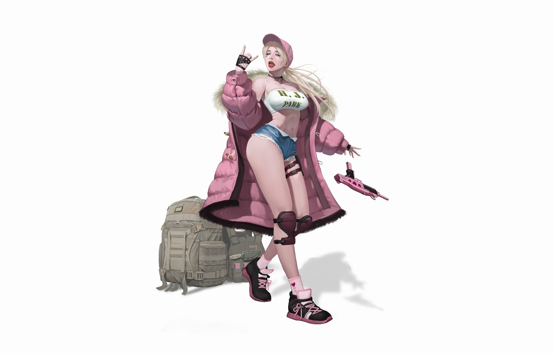 Photo wallpaper Pink, Girl, Gun, Beautiful, Sexy, Art, Style, hip-hop, Blonde, Background, Illustration, Weapon, Minimalism, Figure, Character, …