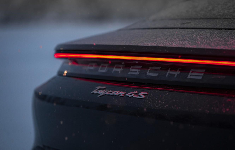 Photo wallpaper snow, black, Porsche, feed, 2020, Taycan, Taycan 4S, the light bar