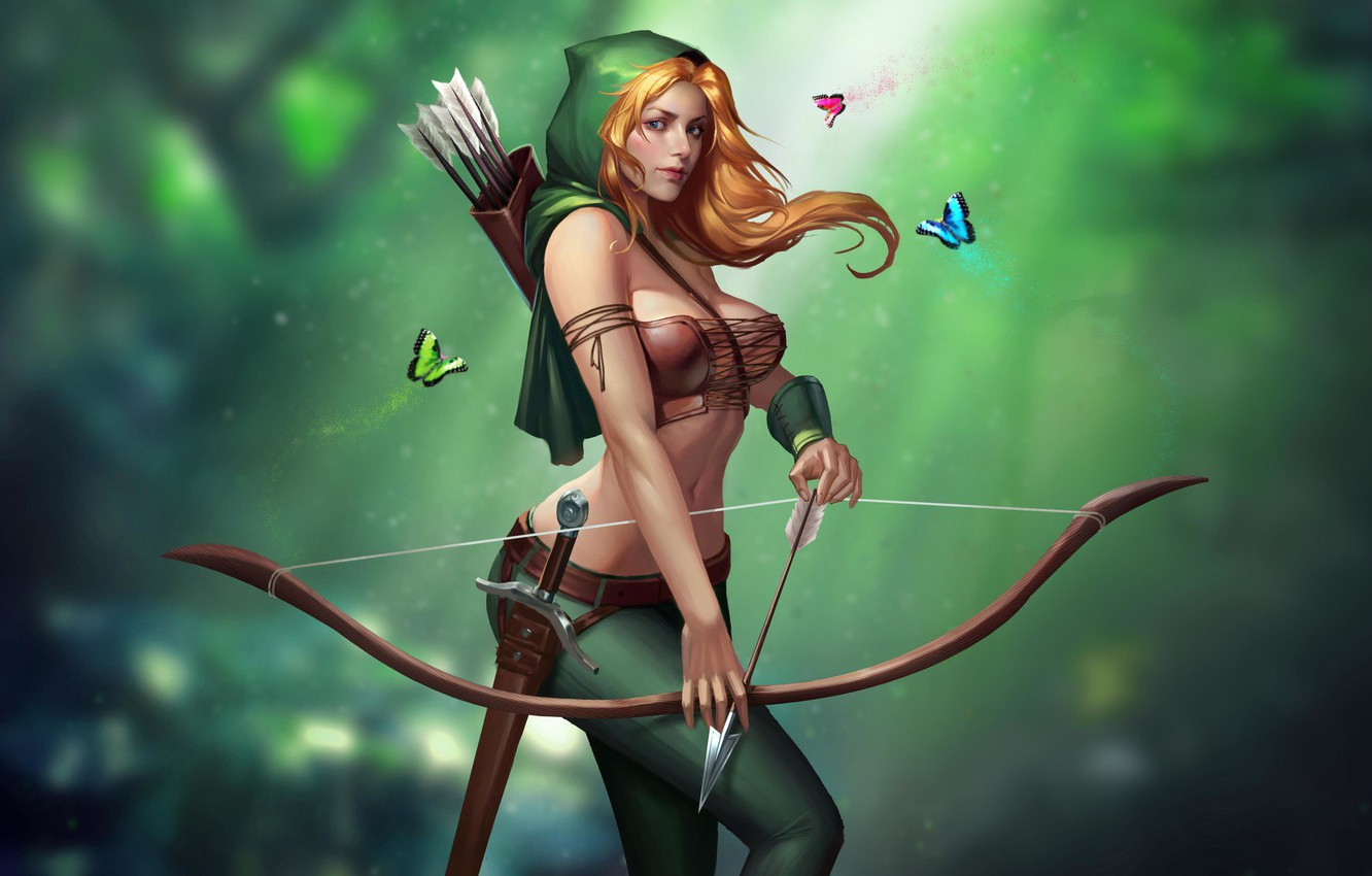 Photo wallpaper Girl, Chest, Look, Blonde, Green, Girl, Butterfly, Sword, Bow, Hood, Art, Art, Breast, Green, Beauty, …