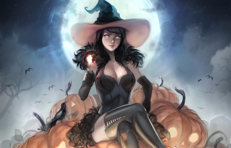 Photo wallpaper girl, hat, pumpkin, witch, Halloween