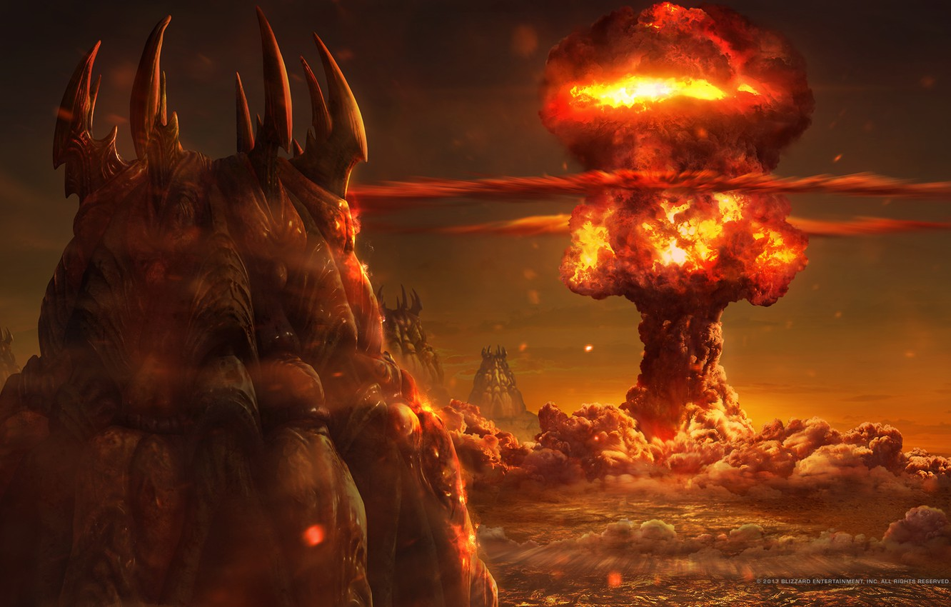Photo wallpaper the explosion, fire, starcraft, nuclear, Zerg, strategy, lose, zergs, remastered